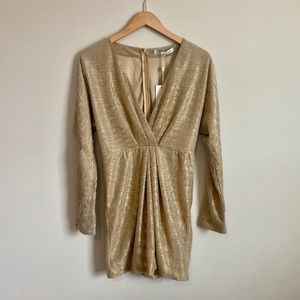 Sparkly Gold Long Sleeve Cocktail Dress